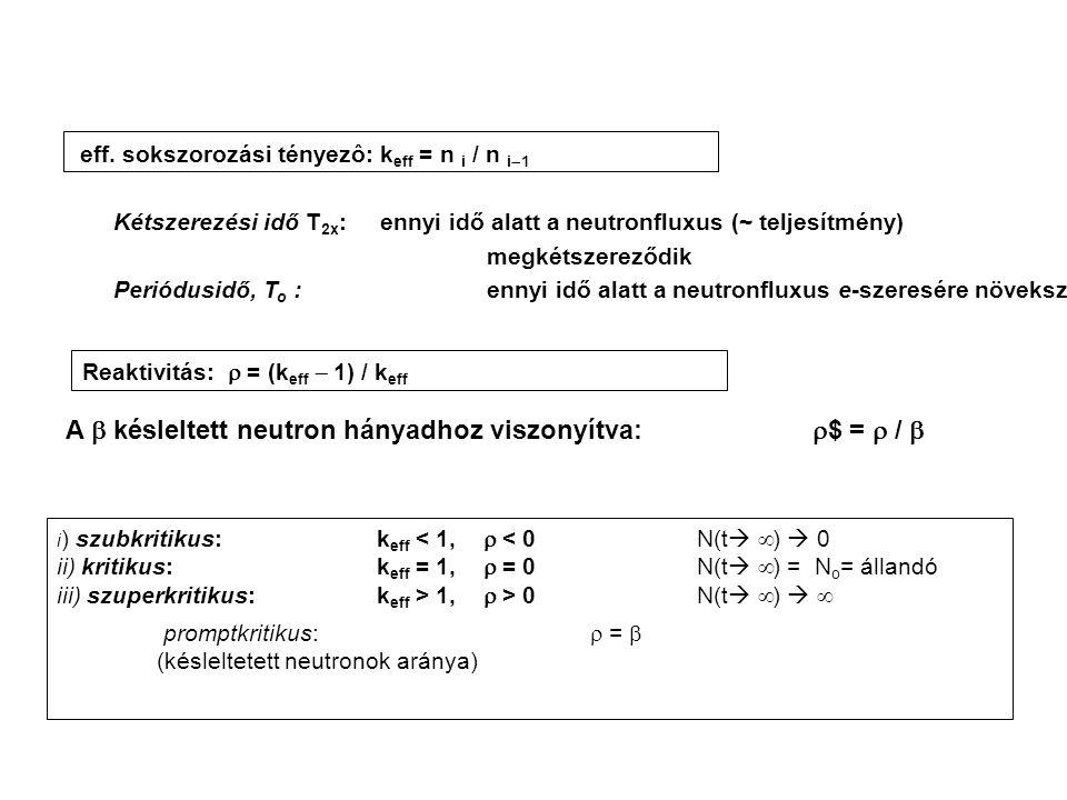 eff. sokszorozási tényezô: k eff = n i / n i  1 Kétszerezési idő T 2x :ennyi idő alatt a neutronfluxus (~ teljesítmény) megkétszereződik Periódusidő,