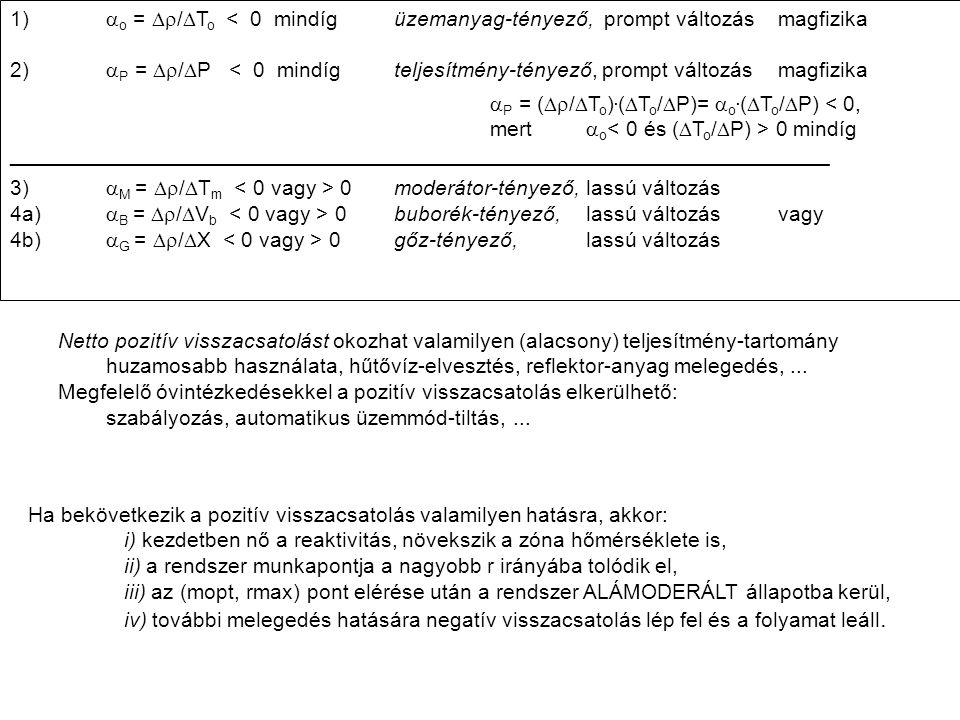 1)  o =  /  T o < 0 mindígüzemanyag-tényező, prompt változás magfizika 2)  P =  /  P < 0 mindíg teljesítmény-tényező, prompt változás magfizika  P = (  /  T o ).