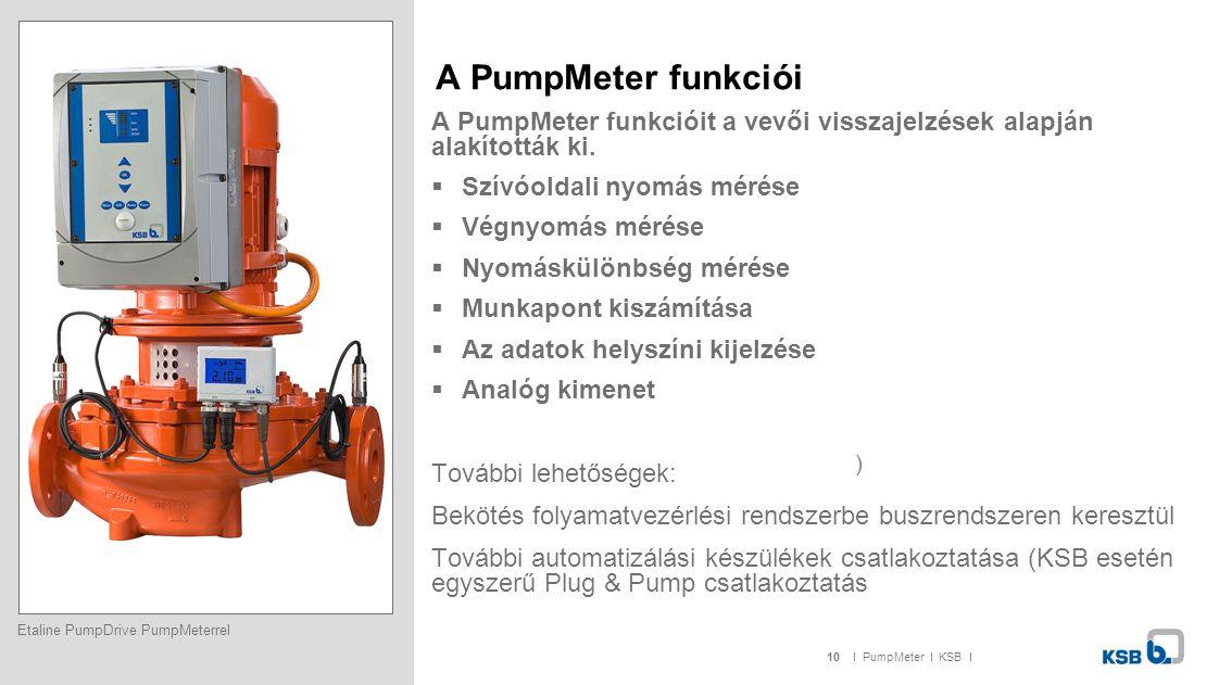 10I PumpMeter I KSB I A PumpMeter funkciói A PumpMeter funkcióit a vevői visszajelzések alapján alakították ki.