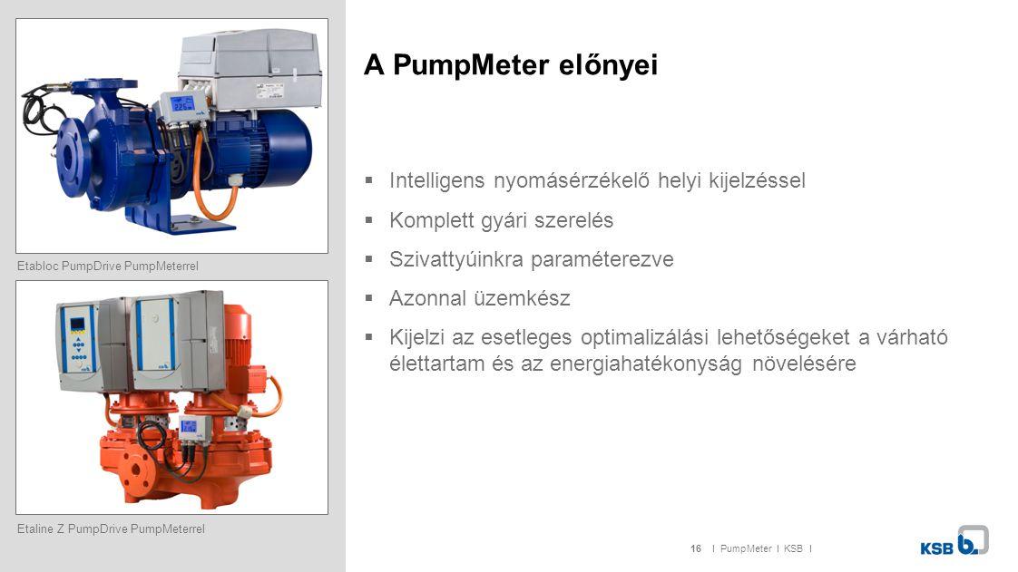 16I PumpMeter I KSB I Etaline Z PumpDrive PumpMeterrel A PumpMeter előnyei  Intelligens nyomásérzékelő helyi kijelzéssel  Komplett gyári szerelés  Szivattyúinkra paraméterezve  Azonnal üzemkész  Kijelzi az esetleges optimalizálási lehetőségeket a várható élettartam és az energiahatékonyság növelésére Etabloc PumpDrive PumpMeterrel