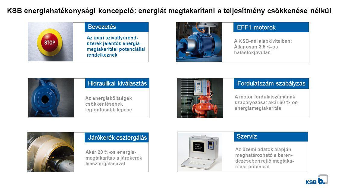 KSB energiahatékonysági koncepció: energiát megtakarítani a teljesítmény csökkenése nélkül Hidraulikai kiválasztás Az energiaköltségek csökkentésének legfontosabb lépése Járókerék esztergálás Akár 20 %-os energia- megtakarítás a járókerék leesztergálásával Fordulatszám-szabályzás A motor fordulatszámának szabályozása: akár 60 %-os energiamegtakarítás Szervíz Az üzemi adatok alapján meghatározható a beren- dezésében rejlő megtaka- rítási potenciál Bevezetés Az ipari szivattyúrend- szerek jelentős energia- megtakarítási potenciállal rendelkeznek EFF1-motorok A KSB-nél alapkivitelben: Átlagosan 3,5 %-os hatásfokjavulás Fordulatszám-szabályzás