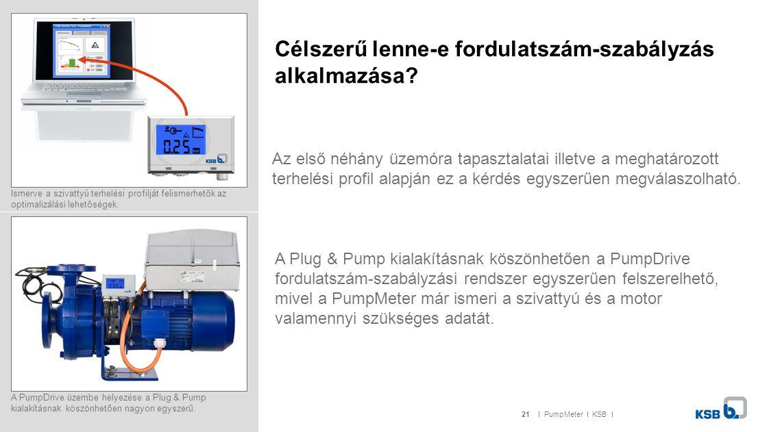 21I PumpMeter I KSB I Célszerű lenne-e fordulatszám-szabályzás alkalmazása.