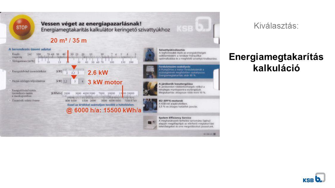 Kiválasztás: Energiamegtakarítás kalkuláció 20 m³ / 35 m 2.6 kW 3 kW motor @ 6000 h/a: 15500 kWh/a
