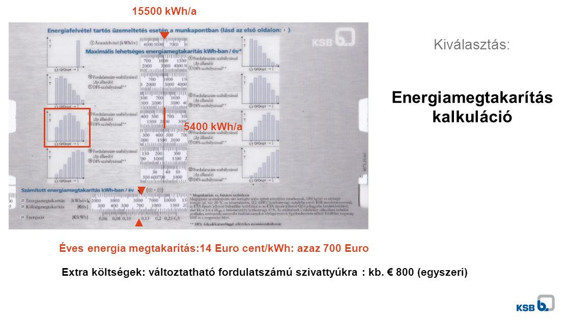 15500 kWh/a 5400 kWh/a Éves energia megtakarítás:14 Euro cent/kWh: azaz 700 Euro Extra költségek: változtatható fordulatszámú szivattyúkra : kb.