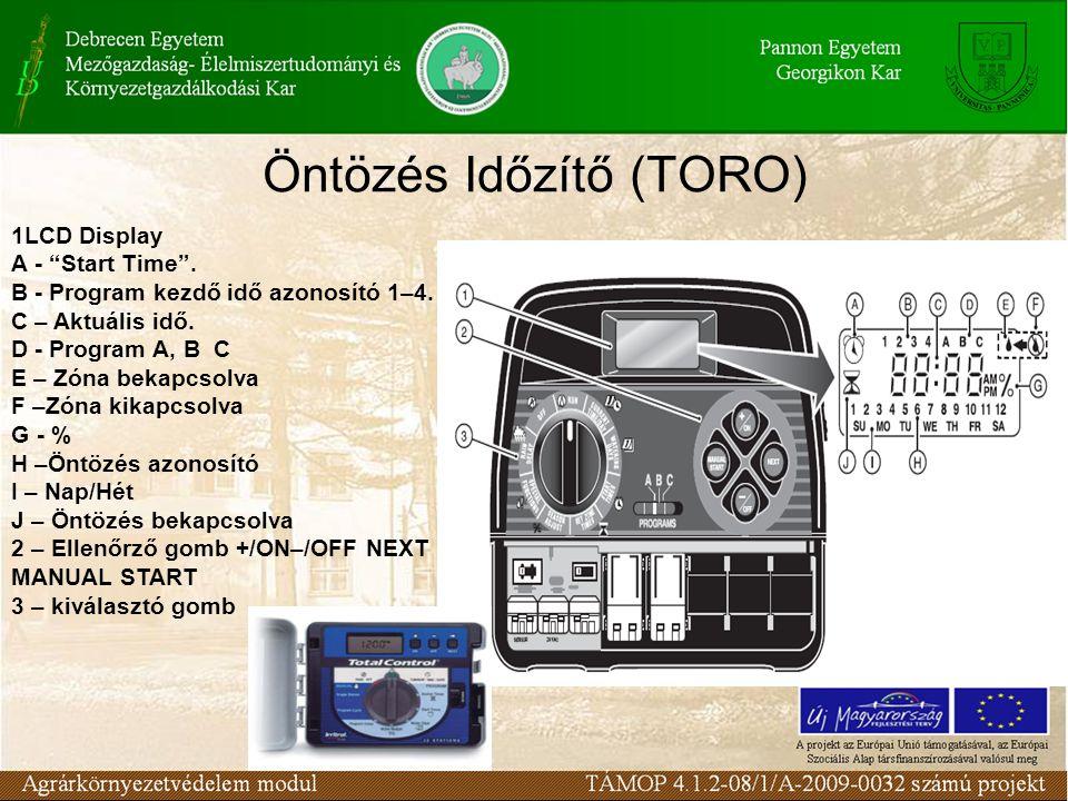 """Öntözés Időzítő (TORO) 1LCD Display A - """"Start Time"""". B - Program kezdő idő azonosító 1–4. C – Aktuális idő. D - Program A, B C E – Zóna bekapcsolva F"""