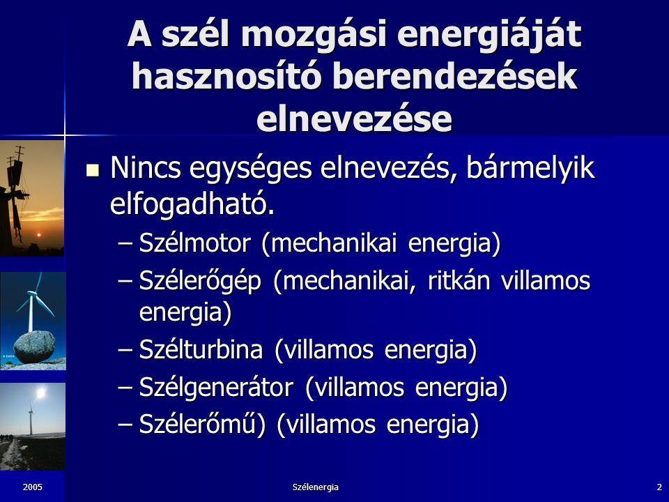 2005Szélenergia3 Szélmotorok csoportosítása az NSZO szerint NSZO nemzetközi szabadalmi osztályozás NSZO nemzetközi szabadalmi osztályozás –A szélmotor olyan készülék amely a természetes szél energiáját hasznos mechanikai energiává alakítja át és ezt az energiát a felhasználási helyre továbbítja.