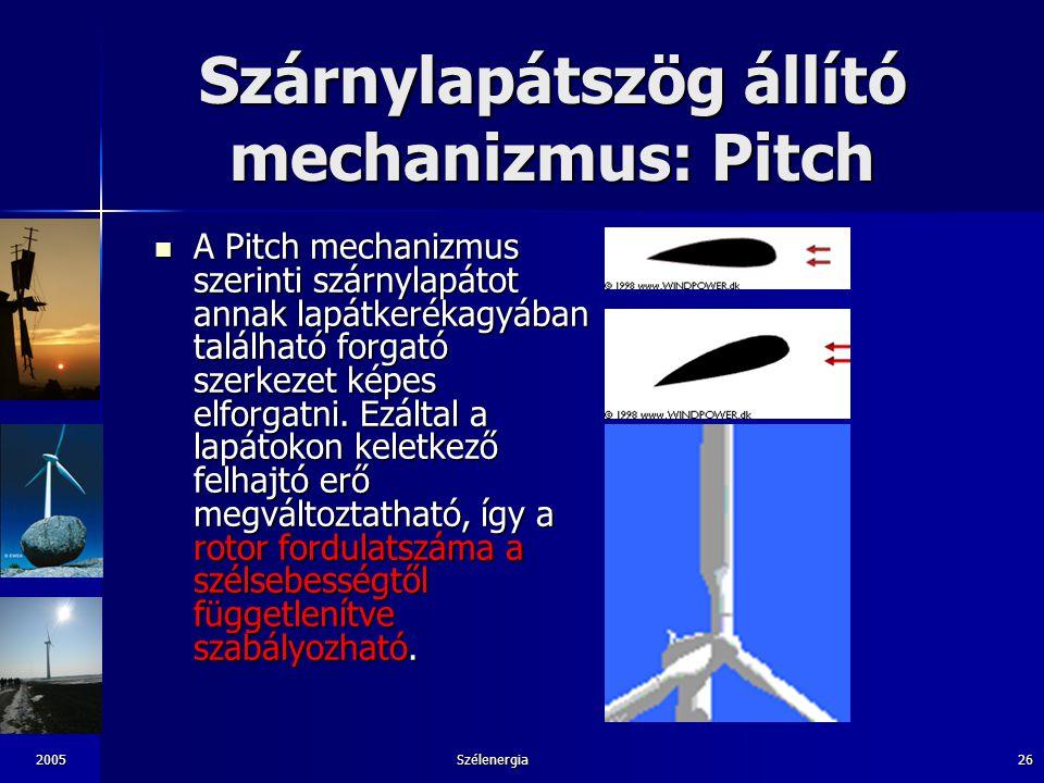 2005Szélenergia26 Szárnylapátszög állító mechanizmus: Pitch A Pitch mechanizmus szerinti szárnylapátot annak lapátkerékagyában található forgató szerk