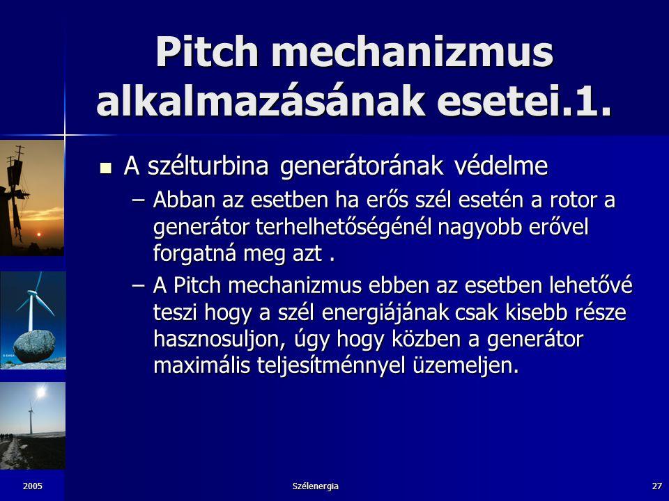 2005Szélenergia27 Pitch mechanizmus alkalmazásának esetei.1. A szélturbina generátorának védelme A szélturbina generátorának védelme –Abban az esetben