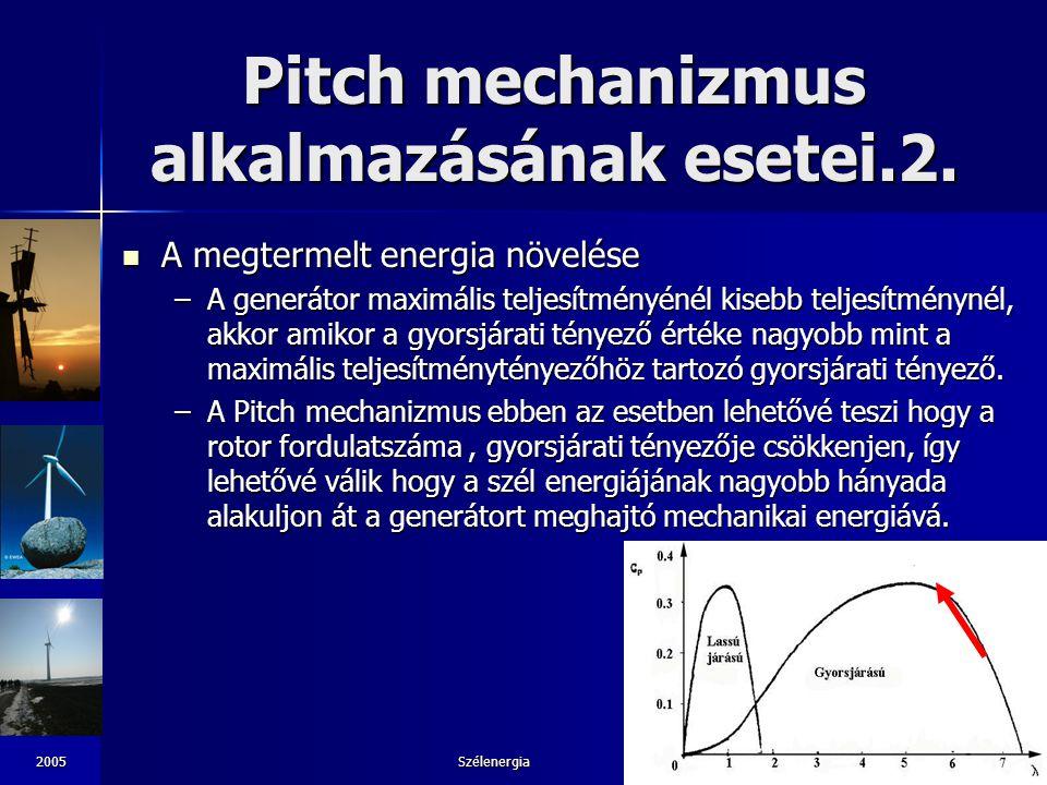 2005Szélenergia28 Pitch mechanizmus alkalmazásának esetei.2. A megtermelt energia növelése A megtermelt energia növelése –A generátor maximális teljes