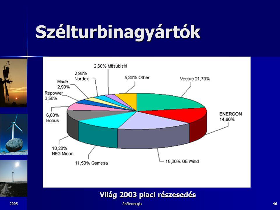 2005Szélenergia46 Szélturbinagyártók Világ 2003 piaci részesedés