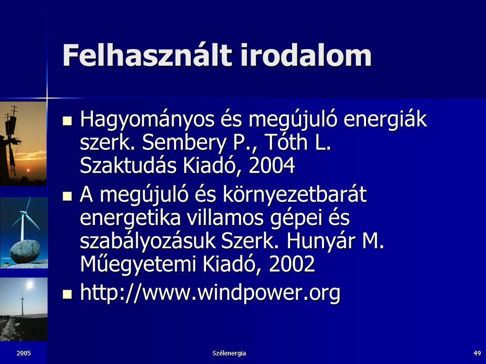 2005Szélenergia49 Felhasznált irodalom Hagyományos és megújuló energiák szerk. Sembery P., Tóth L. Szaktudás Kiadó, 2004 Hagyományos és megújuló energ