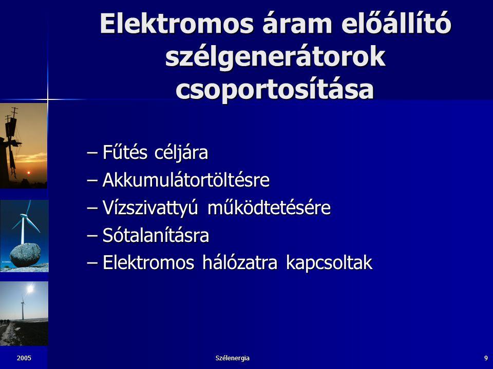 2005Szélenergia9 Elektromos áram előállító szélgenerátorok csoportosítása –Fűtés céljára –Akkumulátortöltésre –Vízszivattyú működtetésére –Sótalanítás