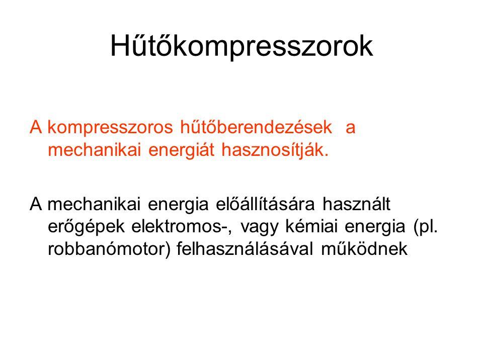 Hűtőkompresszorok A kompresszoros hűtőberendezések a mechanikai energiát hasznosítják.