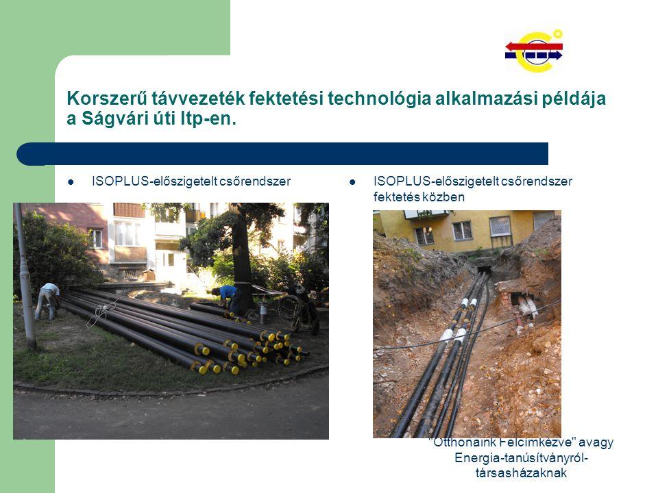 Otthonaink Felcímkézve avagy Energia-tanúsítványról- társasházaknak Korszerű távvezeték fektetési technológia alkalmazási példája a Ságvári úti ltp-en.