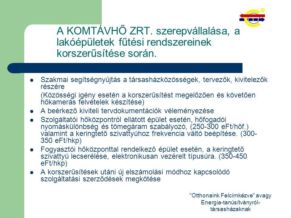 Otthonaink Felcímkézve avagy Energia-tanúsítványról- társasházaknak A KOMTÁVHŐ ZRT.