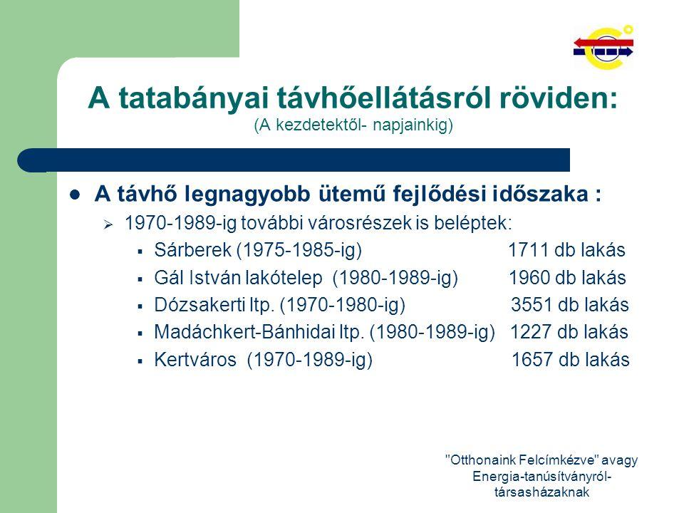 Otthonaink Felcímkézve avagy Energia-tanúsítványról- társasházaknak A tatabányai távhőellátásról röviden: (A kezdetektől- napjainkig) A fejlődés rendszerváltástól napjainkig : (A meglévő városrészeken belüli további urbanizációs fejlődés eredményeképp.)  Bárdos és Unió lakópark(Óváros)  Millenium lakópark (Dózsakert)  Erőmű lakótelep  Baji lakótelep (szerződéses üzemeltetés)