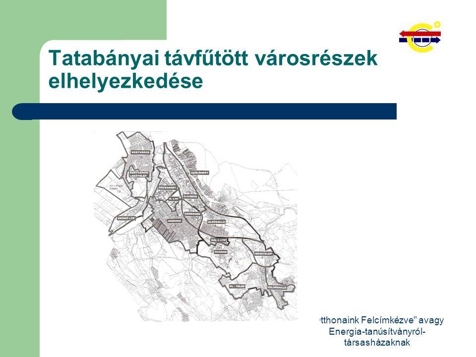 Otthonaink Felcímkézve avagy Energia-tanúsítványról- társasházaknak Tatabányai távfűtött városrészek elhelyezkedése