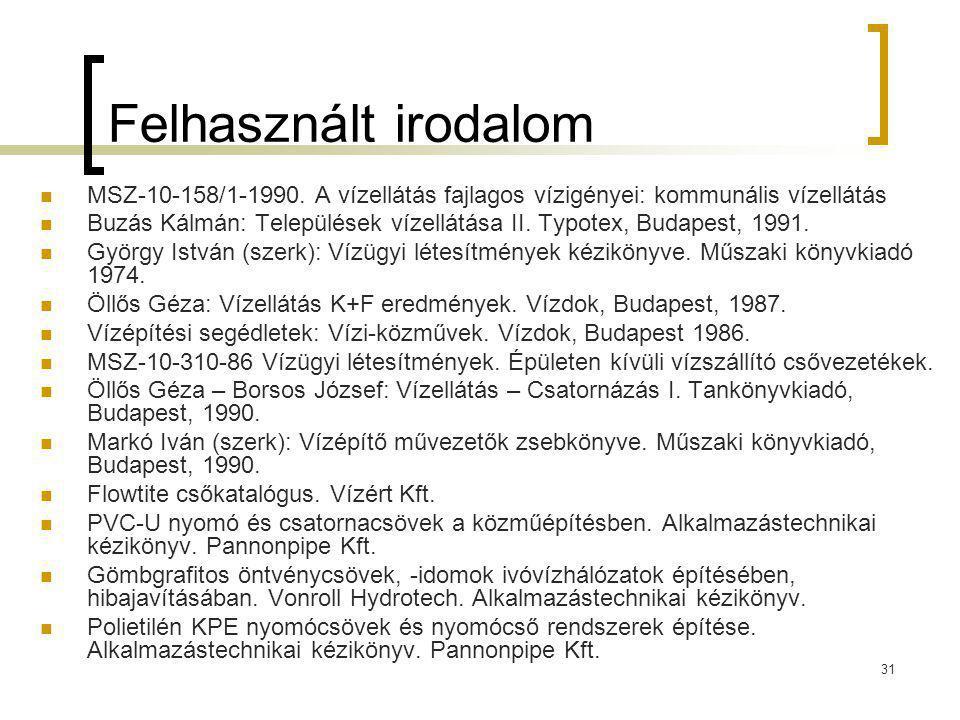 31 Felhasznált irodalom MSZ-10-158/1-1990. A vízellátás fajlagos vízigényei: kommunális vízellátás Buzás Kálmán: Települések vízellátása II. Typotex,