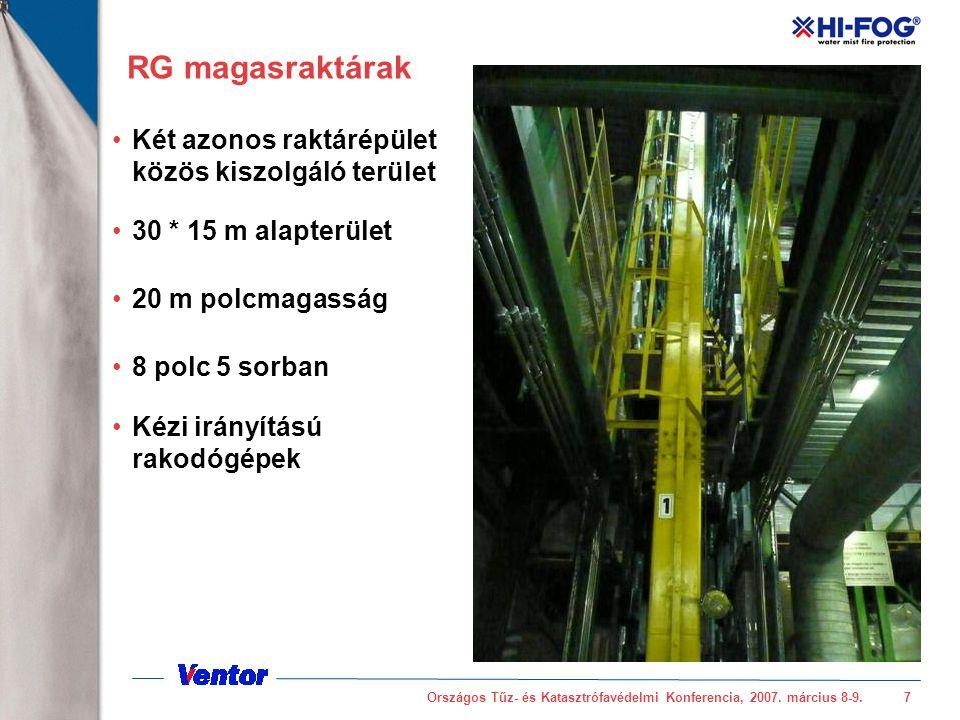 Országos Tűz- és Katasztrófavédelmi Konferencia, 2007. március 8-9.7 RG magasraktárak Két azonos raktárépület közös kiszolgáló terület 30 * 15 m alapt