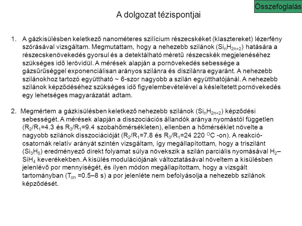 A dolgozat tézispontjai Összefoglalás 1.A gázkisülésben keletkező nanométeres szilícium részecskéket (klasztereket) lézerfény szórásával vizsgáltam.