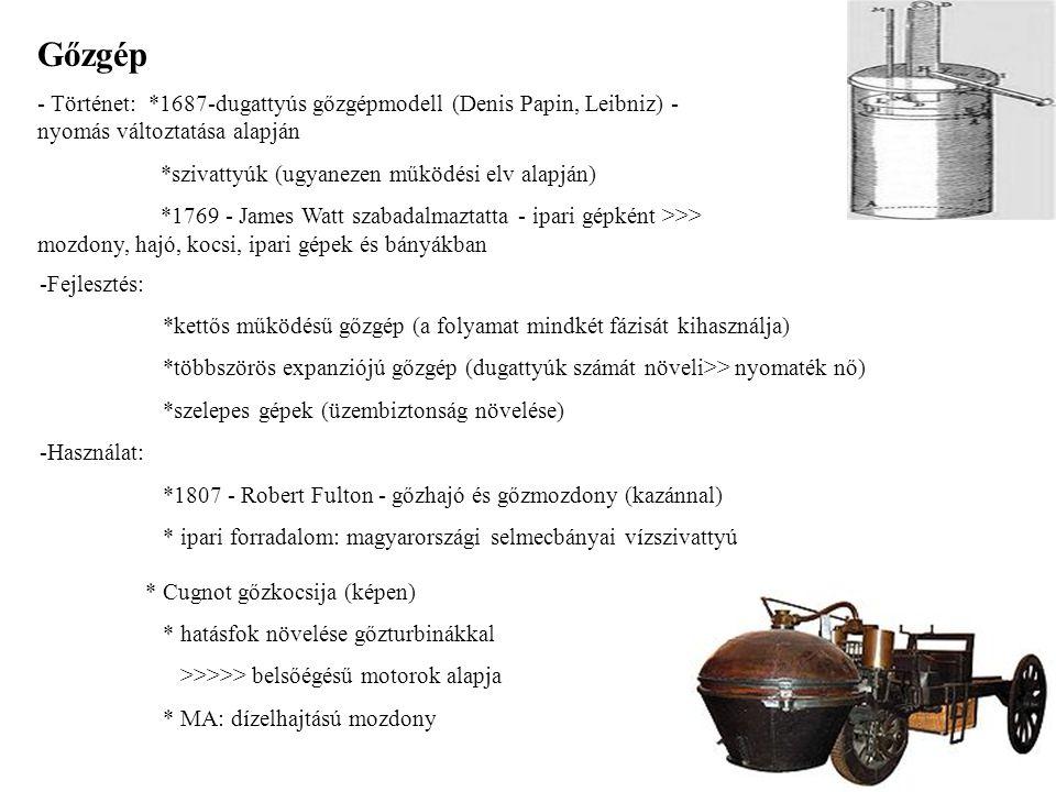 Gőzgép - Történet: *1687-dugattyús gőzgépmodell (Denis Papin, Leibniz) - nyomás változtatása alapján *szivattyúk (ugyanezen működési elv alapján) *176