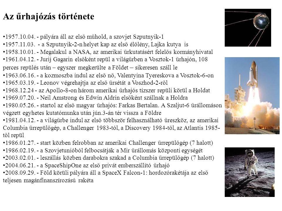 Az űrhajózás története 1957.10.04. - pályára áll az első műhold, a szovjet Szputnyik-1 1957.11.03. - a Szputnyik-2-n helyet kap az első élőlény, Lajka
