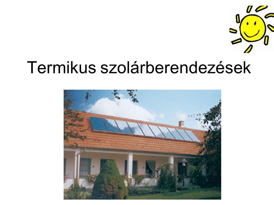 A szolárberendezés kapcsolási vázlata A főkomponensek: -napkollektorok -szolártároló hőcserélővel -hőmérsékletkülönbség- szabályozó -kazán az utánfűtéshez -kiegészítő berendezések (szivattyúk, stb.)