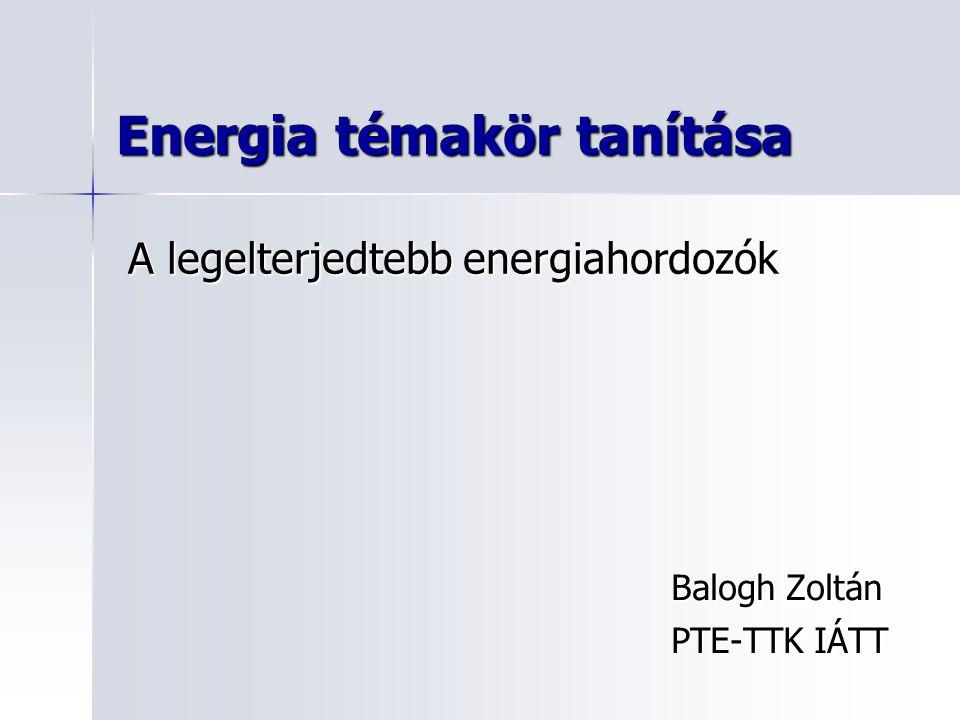 Energia témakör tanítása Balogh Zoltán PTE-TTK IÁTT A legelterjedtebb energiahordozók