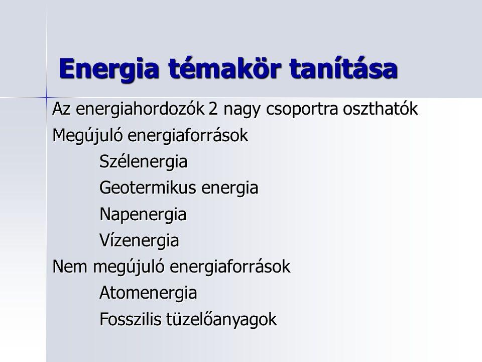 Energia témakör tanítása Az energiahordozók 2 nagy csoportra oszthatók Megújuló energiaforrások Szélenergia Geotermikus energia NapenergiaVízenergia Nem megújuló energiaforrások Atomenergia Fosszilis tüzelőanyagok