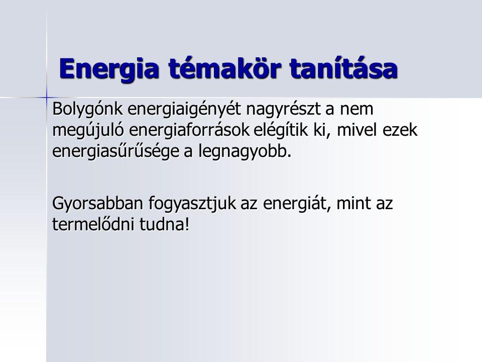 Energia témakör tanítása Bolygónk energiaigényét nagyrészt a nem megújuló energiaforrások elégítik ki, mivel ezek energiasűrűsége a legnagyobb.