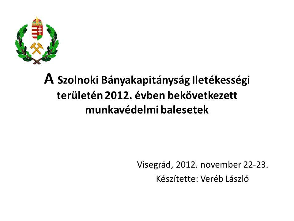 A Szolnoki Bányakapitányság Iletékességi területén 2012. évben bekövetkezett munkavédelmi balesetek Visegrád, 2012. november 22-23. Készítette: Veréb
