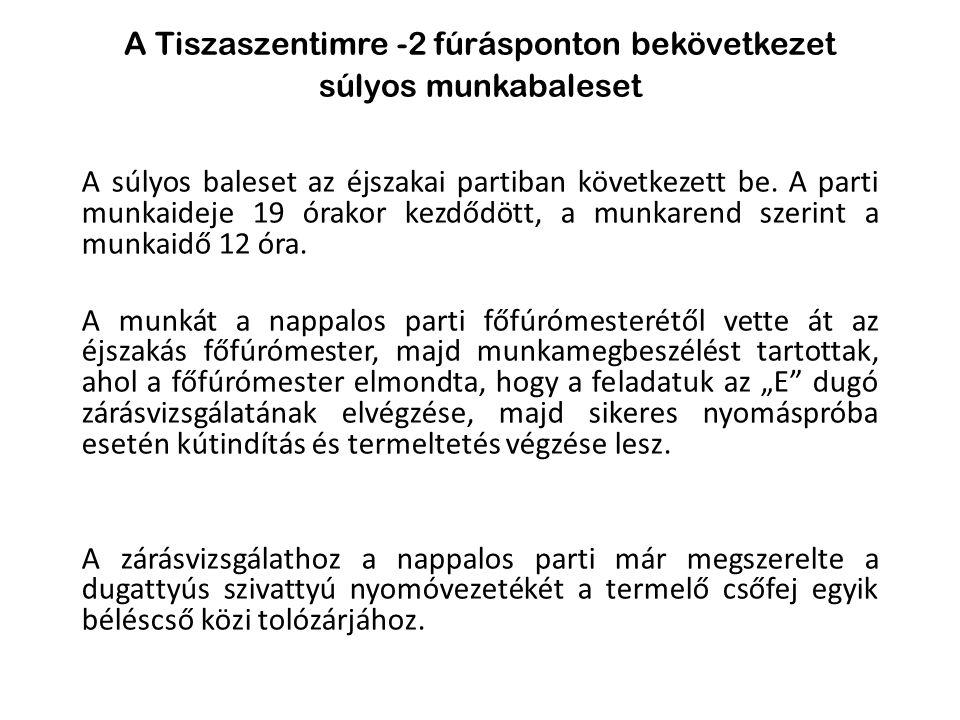 A Tiszaszentimre -2 fúrásponton bekövetkezet súlyos munkabaleset A súlyos baleset az éjszakai partiban következett be. A parti munkaideje 19 órakor ke