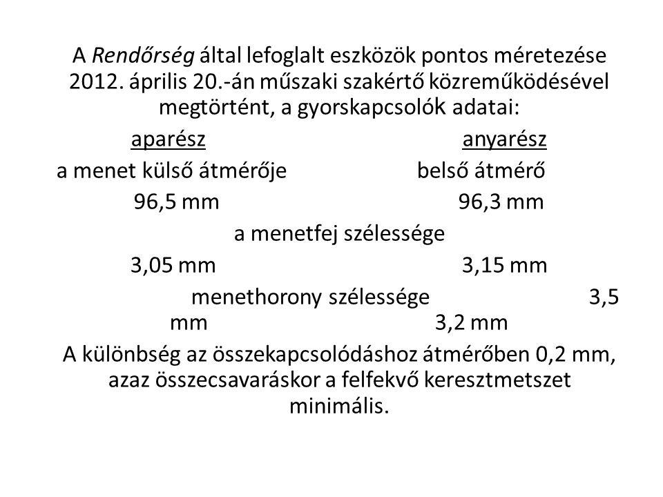 A Rendőrség által lefoglalt eszközök pontos méretezése 2012. április 20.-án műszaki szakértő közreműködésével megtörtént, a gyorskapcsoló k adatai: ap