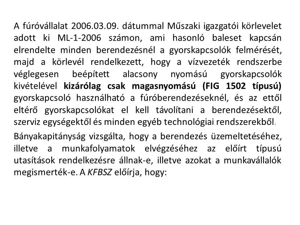 A fúróvállalat 2006.03.09. dátummal Műszaki igazgatói körlevelet adott ki ML-1-2006 számon, ami hasonló baleset kapcsán elrendelte minden berendezésné