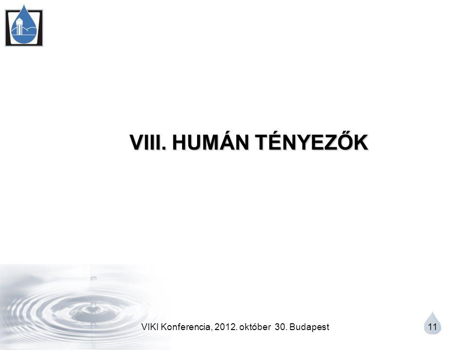 VIKI Konferencia, 2012. október 30. Budapest 11 VIII. HUMÁN TÉNYEZŐK VIII. HUMÁN TÉNYEZŐK