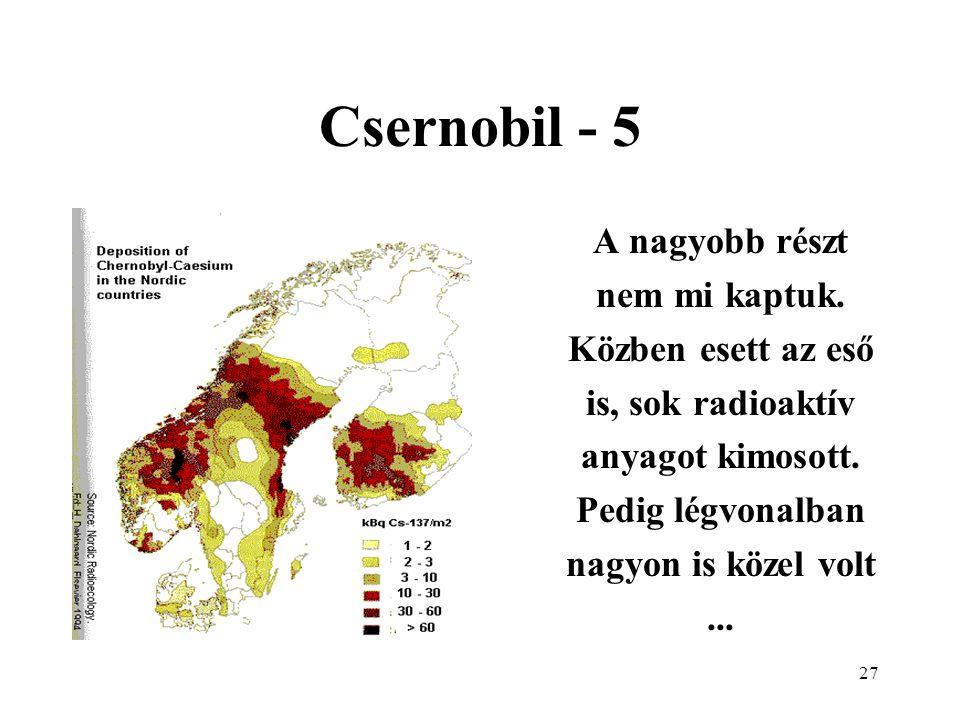 27 Csernobil - 5 A nagyobb részt nem mi kaptuk. Közben esett az eső is, sok radioaktív anyagot kimosott. Pedig légvonalban nagyon is közel volt...