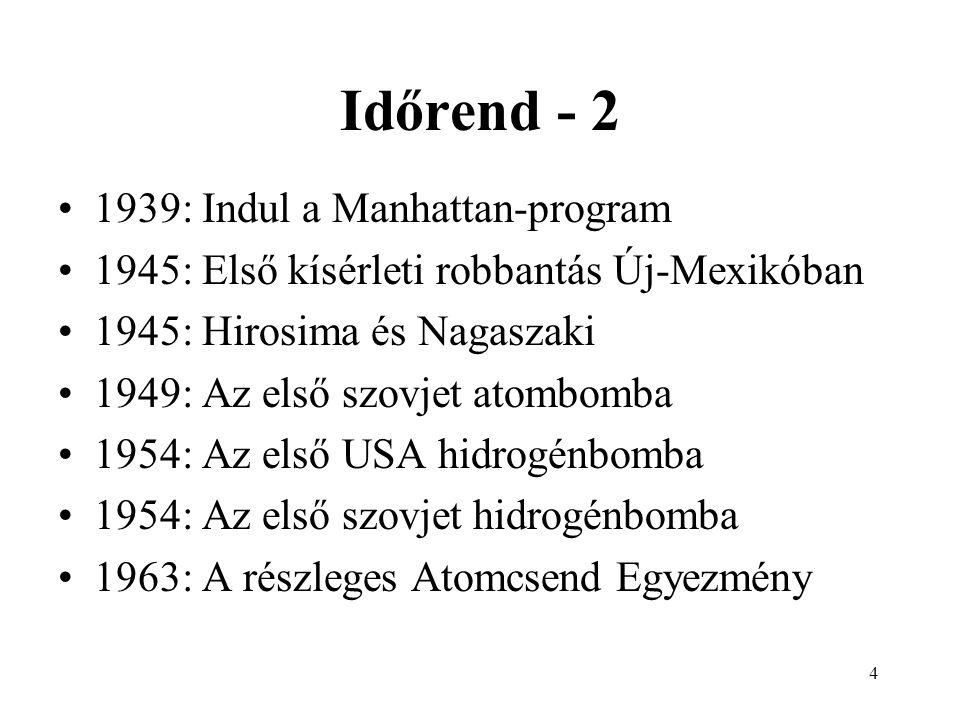 5 Időrend - 3 Első atombomba-robbantások USA: 1945 - Oppenheimer Szovjetunió: 1949 - Kurcsatov Nagy-Britannia: 1952 Franciaország: 1960 Kína: 1964 India: 1974 Pakisztán: 1998