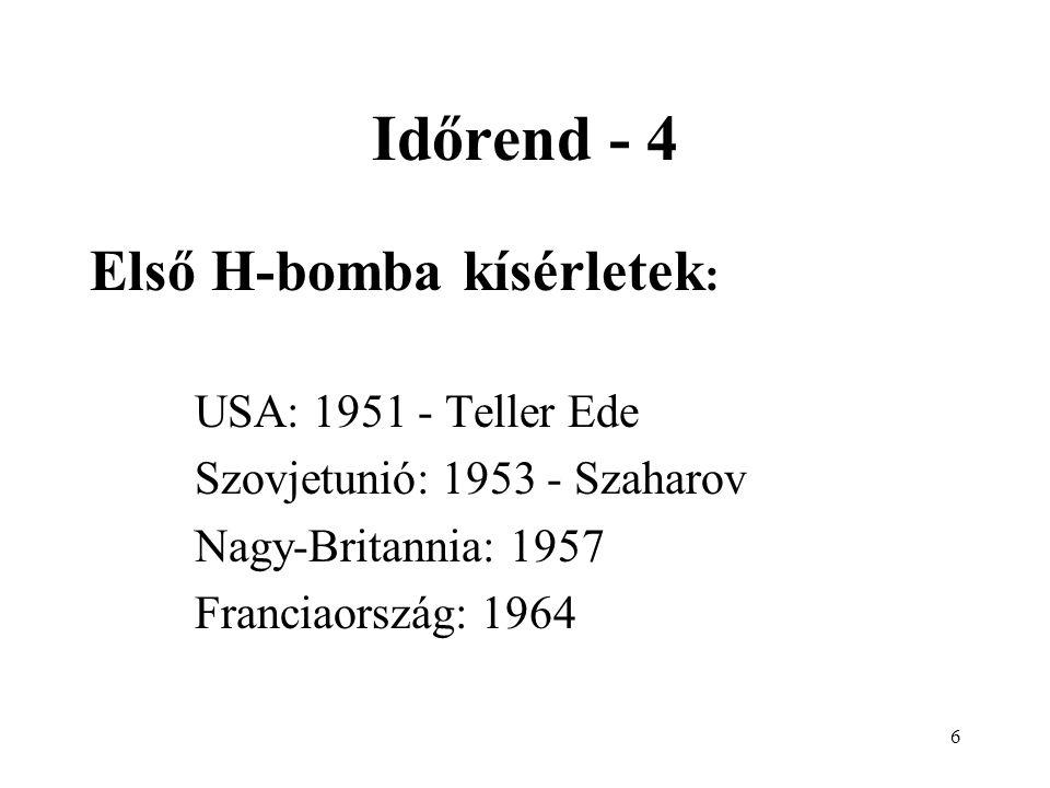 7 Időrend - 5 Kísérleti robbantások száma (1945-1995) USA: 1029 Szovjetunió és Oroszország: 715 Franciaország: 192 Nagy-Britannia: 45 Kína: 43 India: 1