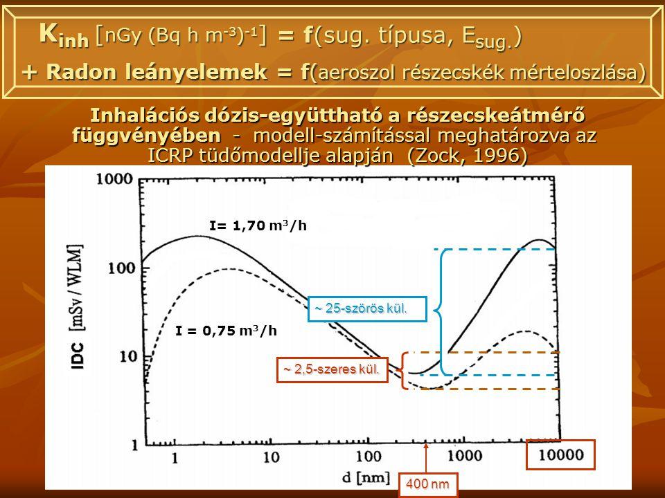 I= 1,70 m 3 /h I = 0,75 m 3 /h Inhalációs dózis-együttható a részecskeátmérő függvényében - modell-számítással meghatározva az ICRP tüdőmodellje alapján (Zock, 1996) 400 nm ~ 2,5-szeres kül.