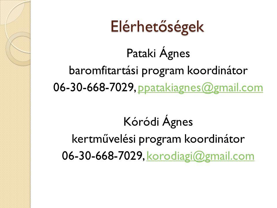 Elérhetőségek Pataki Ágnes baromfitartási program koordinátor 06-30-668-7029, ppatakiagnes@gmail.comppatakiagnes@gmail.com Kóródi Ágnes kertművelési p