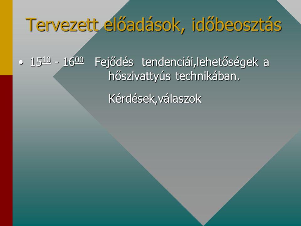 Tervezett előadások, időbeosztás 15 10 - 16 00 Fejődés tendenciái,lehetőségek a hőszivattyús technikában.15 10 - 16 00 Fejődés tendenciái,lehetőségek