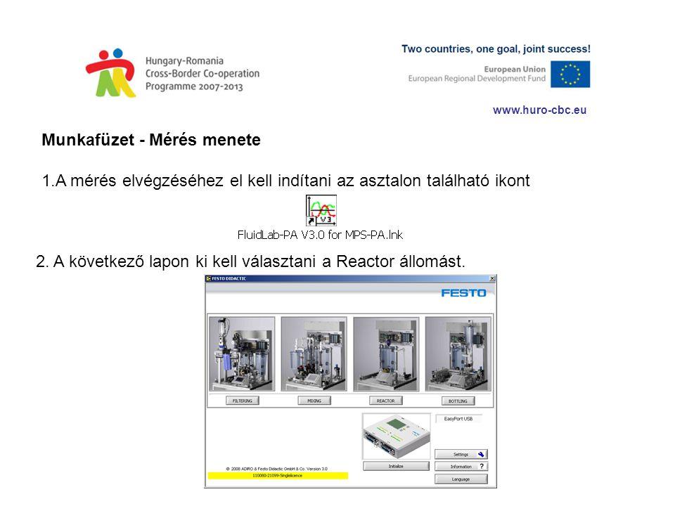 www.huro-cbc.eu Munkafüzet - Mérés menete 1.A mérés elvégzéséhez el kell indítani az asztalon található ikont 2. A következő lapon ki kell választani