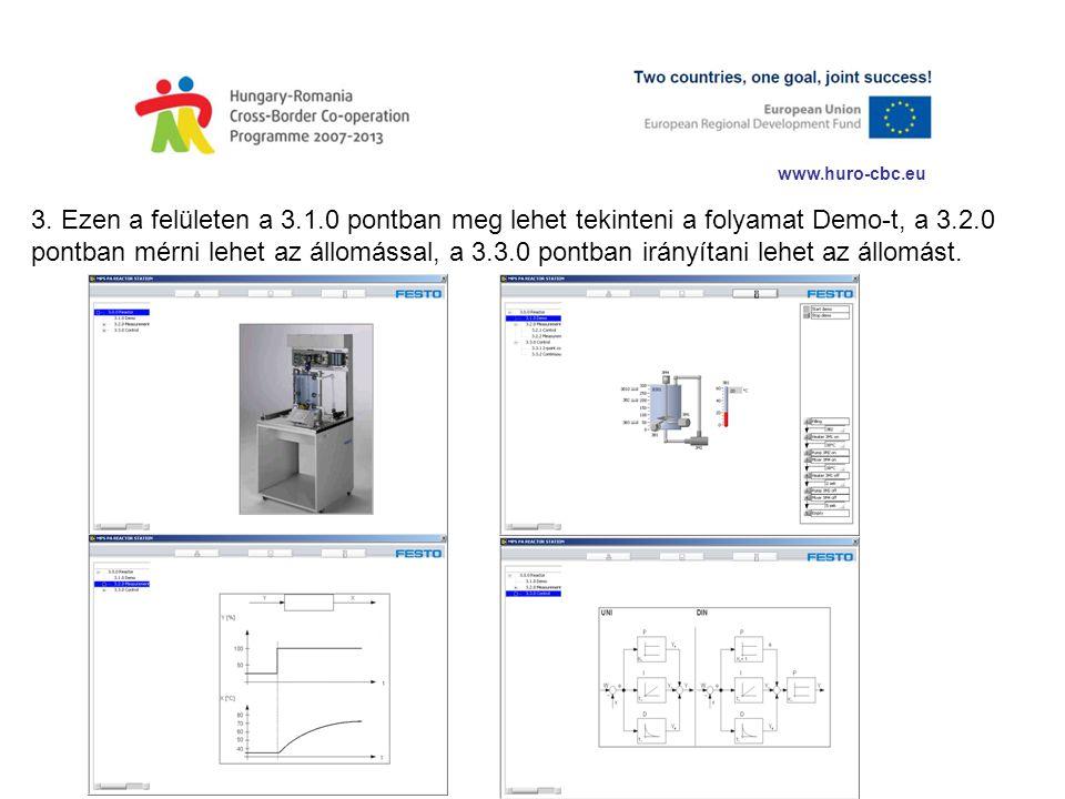 www.huro-cbc.eu 3. Ezen a felületen a 3.1.0 pontban meg lehet tekinteni a folyamat Demo-t, a 3.2.0 pontban mérni lehet az állomással, a 3.3.0 pontban