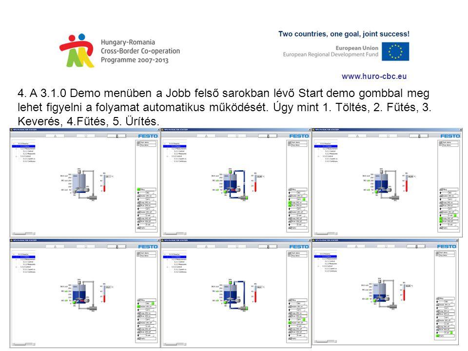www.huro-cbc.eu 4. A 3.1.0 Demo menüben a Jobb felső sarokban lévő Start demo gombbal meg lehet figyelni a folyamat automatikus működését. Úgy mint 1.