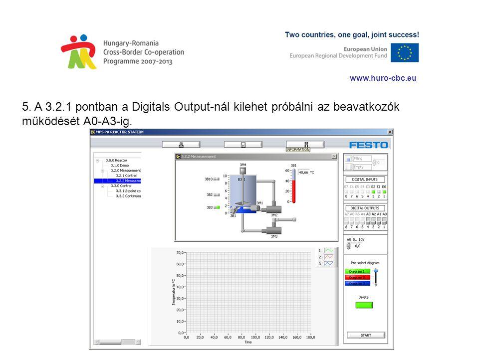 www.huro-cbc.eu 5. A 3.2.1 pontban a Digitals Output-nál kilehet próbálni az beavatkozók működését A0-A3-ig.