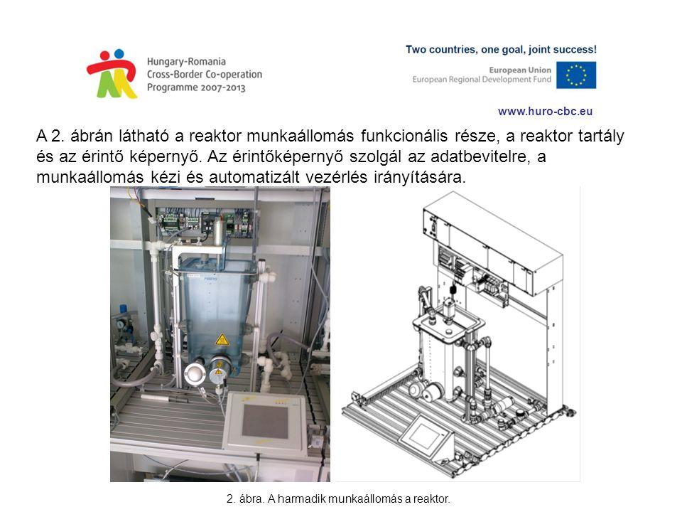 www.huro-cbc.eu A 2. ábrán látható a reaktor munkaállomás funkcionális része, a reaktor tartály és az érintő képernyő. Az érintőképernyő szolgál az ad