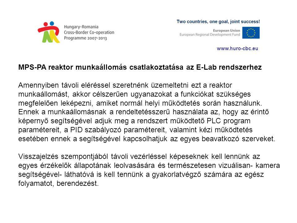 www.huro-cbc.eu MPS-PA reaktor munkaállomás csatlakoztatása az E-Lab rendszerhez Amennyiben távoli eléréssel szeretnénk üzemeltetni ezt a reaktor munk