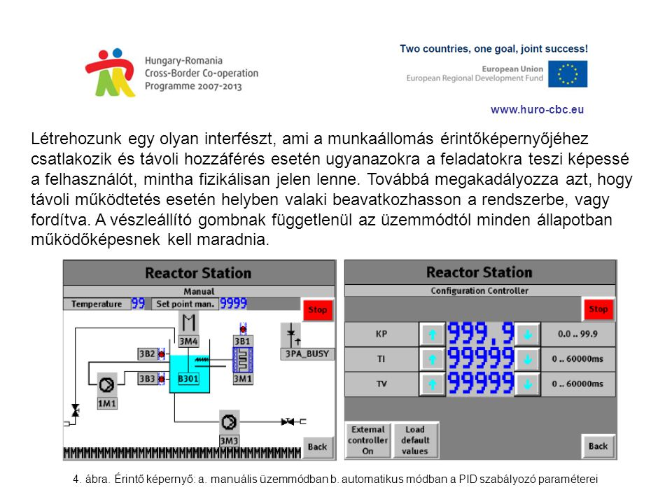 www.huro-cbc.eu Létrehozunk egy olyan interfészt, ami a munkaállomás érintőképernyőjéhez csatlakozik és távoli hozzáférés esetén ugyanazokra a feladat