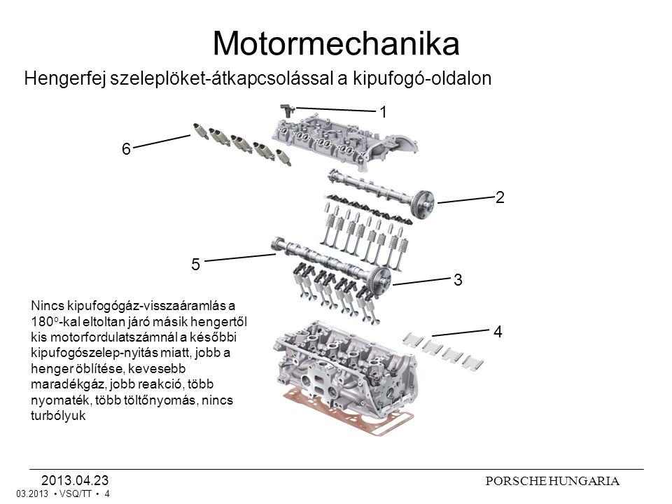 PORSCHE HUNGARIA2013.04.23 VSQ/TT 4 Hengerfej szeleplöket-átkapcsolással a kipufogó-oldalon Motormechanika 1 2 3 4 5 6 03.2013 Nincs kipufogógáz-visszaáramlás a 180 o -kal eltoltan járó másik hengertől kis motorfordulatszámnál a későbbi kipufogószelep-nyitás miatt, jobb a henger öblítése, kevesebb maradékgáz, jobb reakció, több nyomaték, több töltőnyomás, nincs turbólyuk