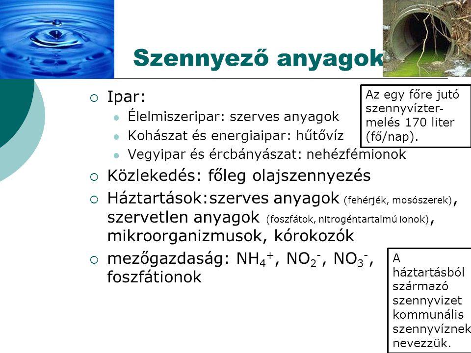  Ipar: Élelmiszeripar: szerves anyagok Kohászat és energiaipar: hűtővíz Vegyipar és ércbányászat: nehézfémionok  Közlekedés: főleg olajszennyezés  Háztartások:szerves anyagok (fehérjék, mosószerek), szervetlen anyagok (foszfátok, nitrogéntartalmú ionok), mikroorganizmusok, kórokozók  mezőgazdaság: NH 4 +, NO 2 -, NO 3 -, foszfátionok Szennyező anyagok Az egy főre jutó szennyvízter - melés 170 liter (fő/nap).
